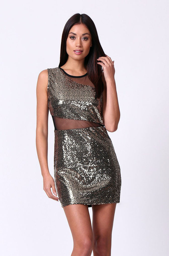 SP0133-GOLD SEQUIN MESH INSET MINI DRESS