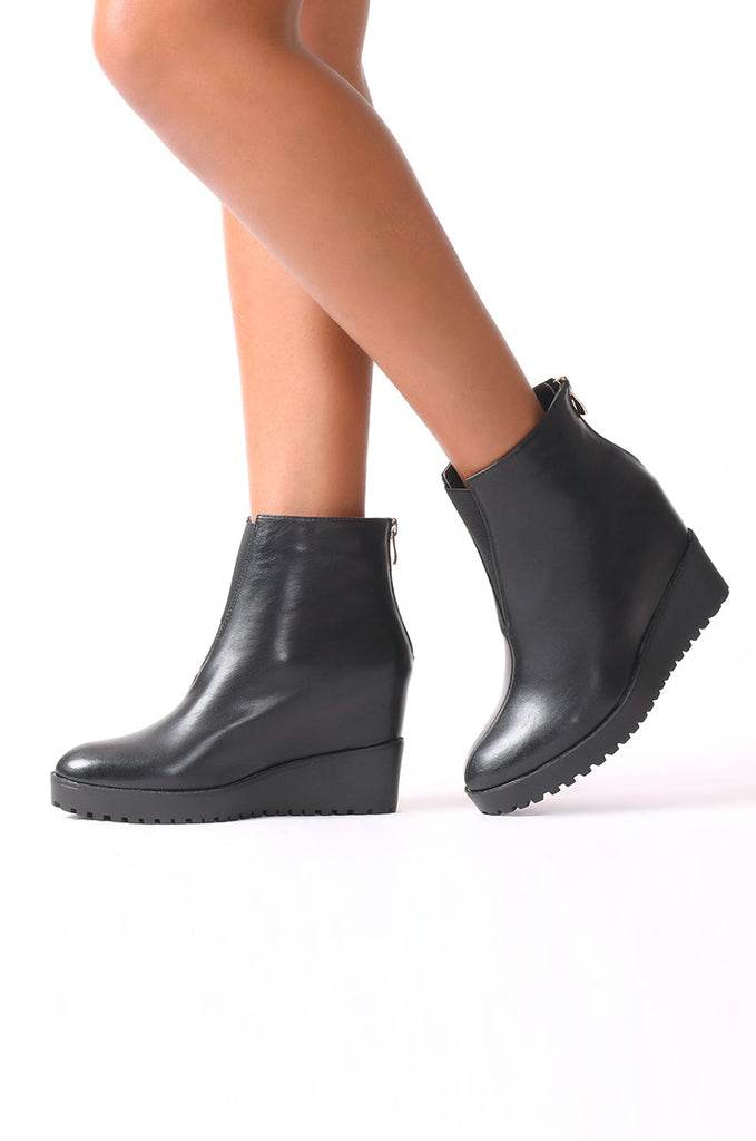 SMJ0044-BLACK HIDDEN WEDGE ANKLE BOOT