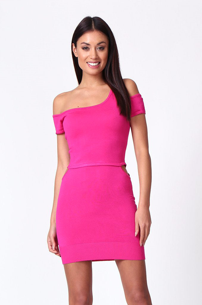 SP0222-PINK CUT OUT KNIT MINI DRESS view 2