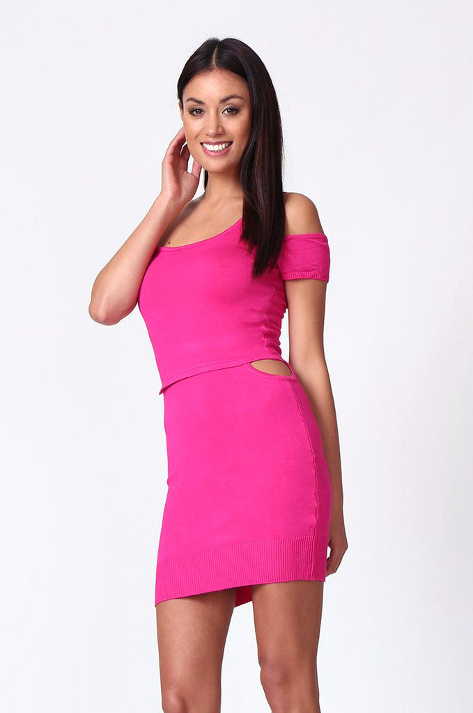 SP0222-PINK CUT OUT KNIT MINI DRESS