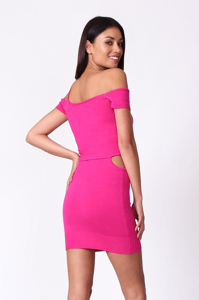 SP0222-PINK CUT OUT KNIT MINI DRESS view 3
