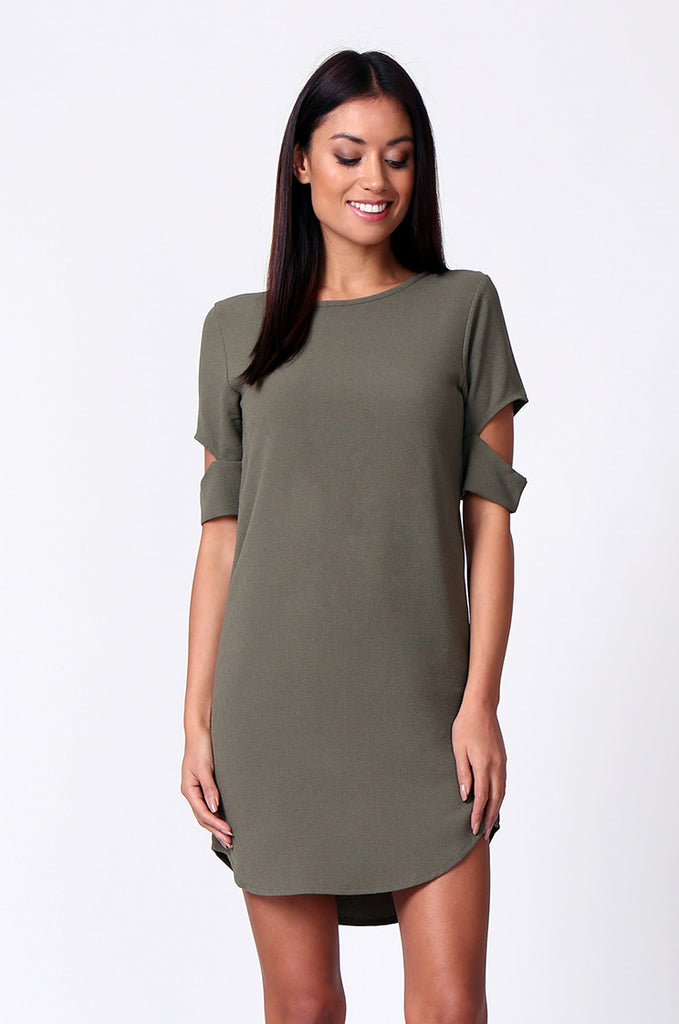 SM0180-OLIVE CUTOUT SLEEVE SCOOPNECK MINI DRESS view main view