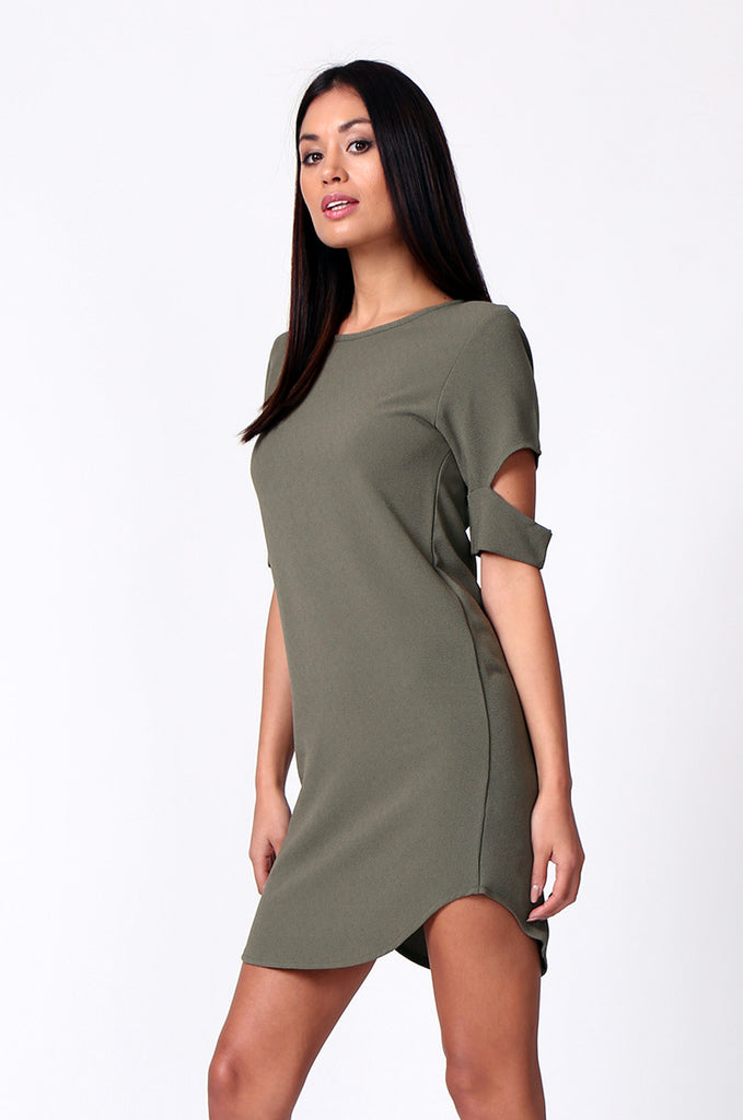 SM0180-OLIVE CUTOUT SLEEVE SCOOPNECK MINI DRESS view 2