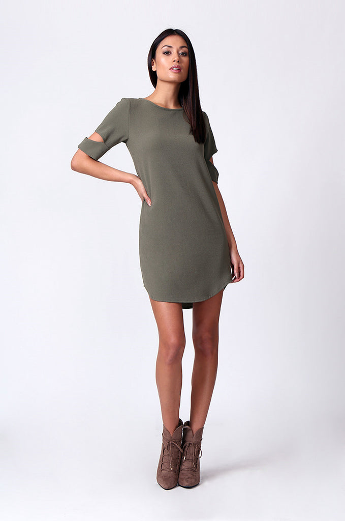 SM0180-OLIVE CUTOUT SLEEVE SCOOPNECK MINI DRESS view 4