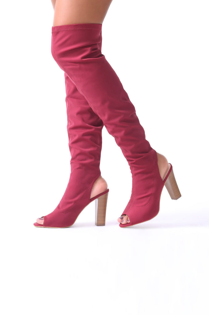 SCM0074-WINE PEEP TOE KNEE HIGH BOOTS view main view