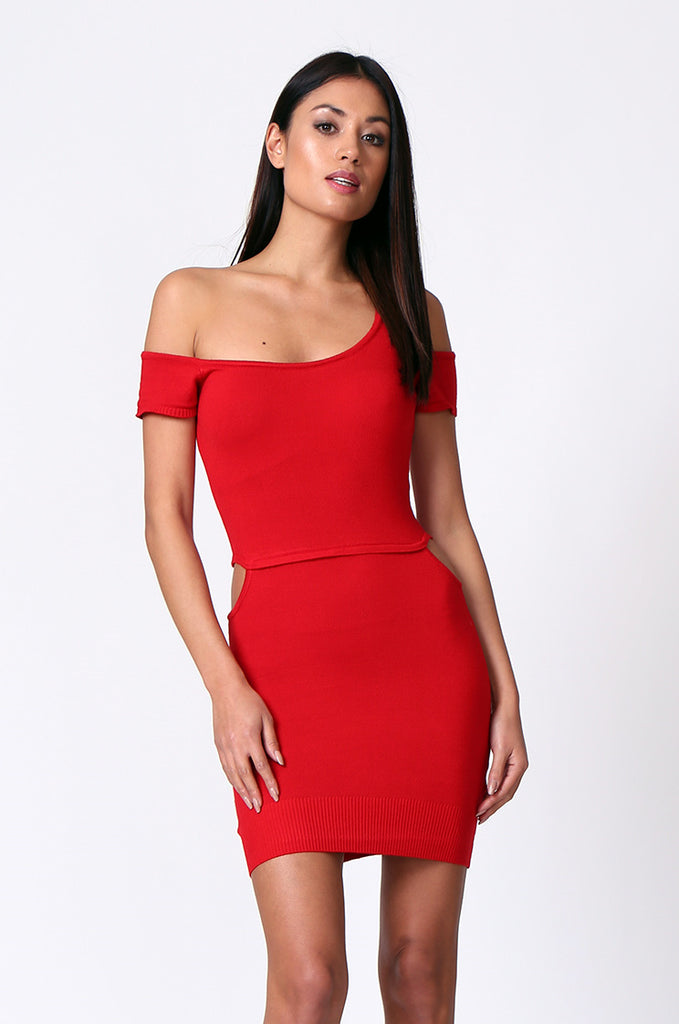 SP0222-RED CUT OUT KNIT MINI DRESS