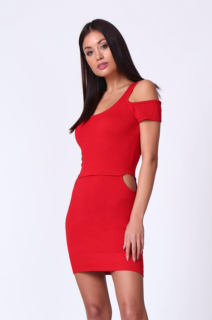 SP0222-RED CUT OUT KNIT MINI DRESS view 3