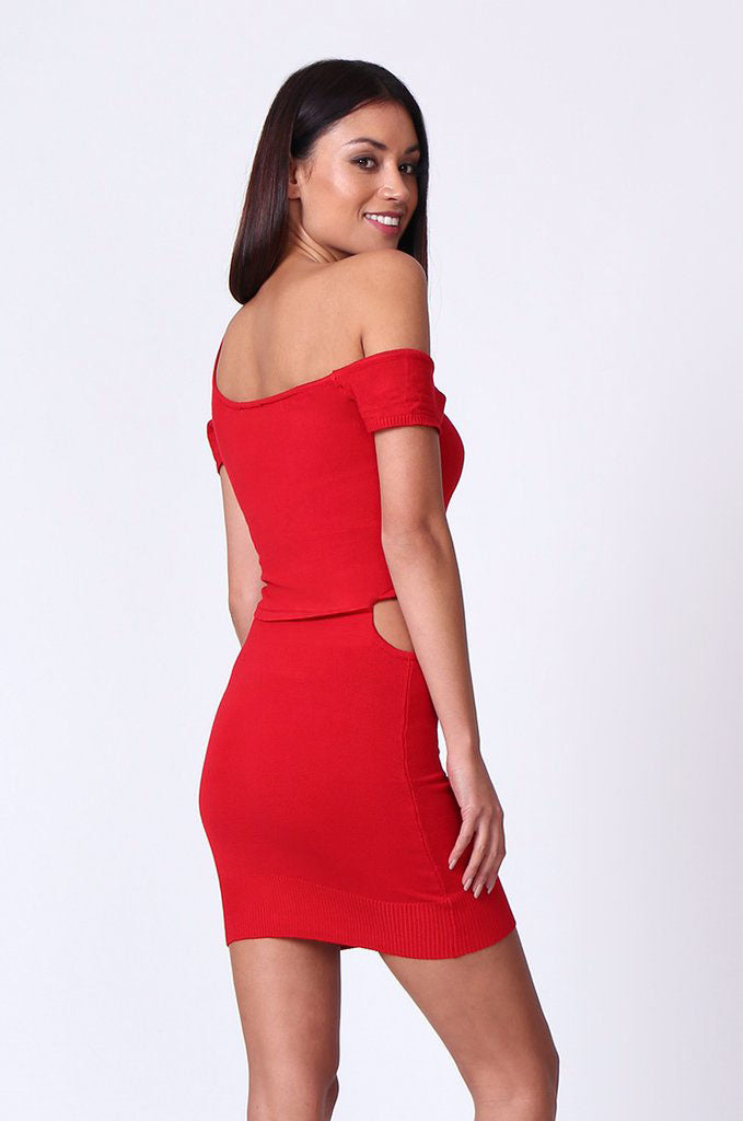 SP0222-RED CUT OUT KNIT MINI DRESS view 2