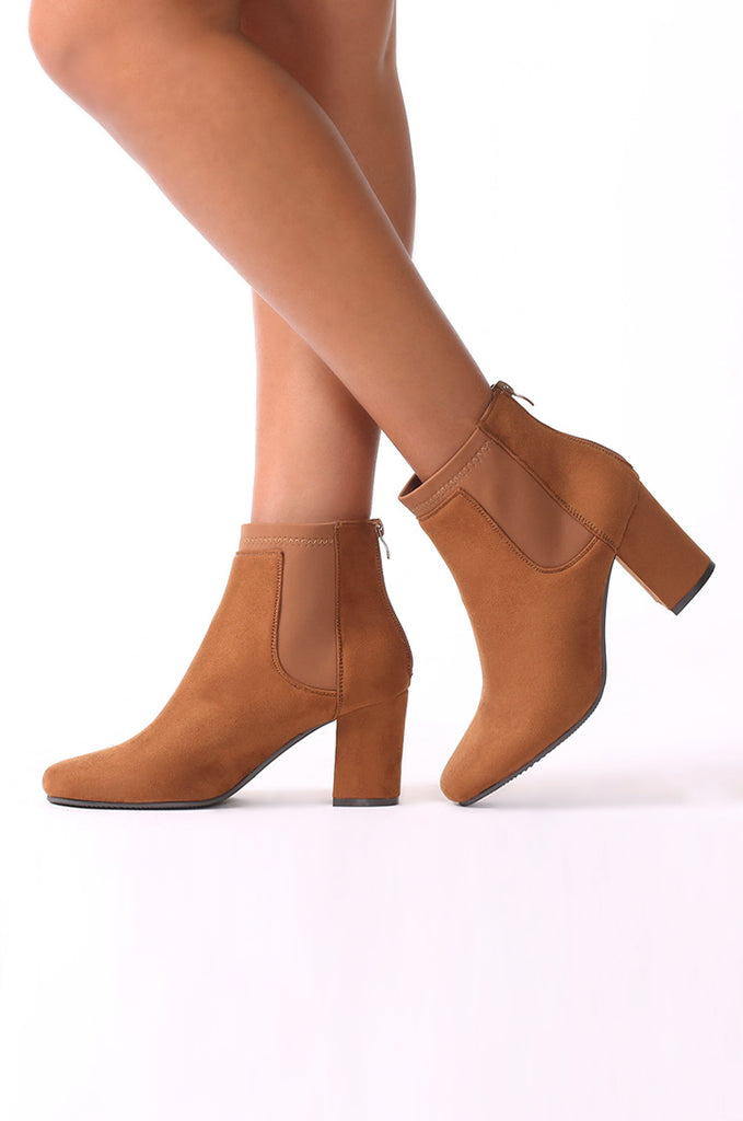 SMF0035-TAN SUEDE ANKLE BOOTS view main view