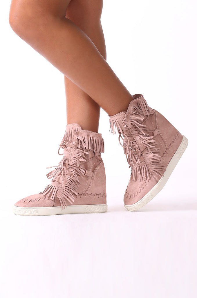 SCM0081-PINK SUEDE MOCCASIN WEDGE BOOTS