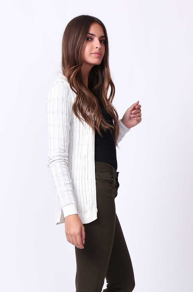 SF0061-WHITE LONG SLEEVE CABLE KNIT CARDIGAN view 2