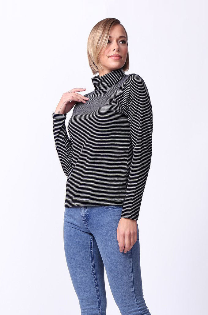 SF0024-BLACK STRIPED LONG SLEEVE BASIC TURTLENECK view 2