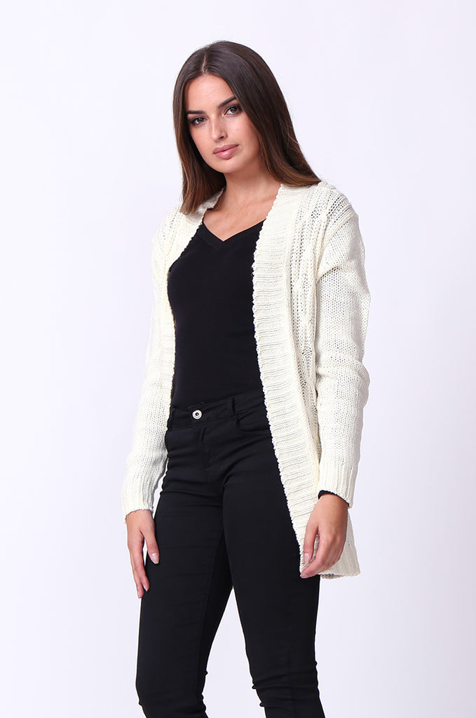 SF0067-CREAM LONGLINE CABLE KNIT CARDIGAN view 2