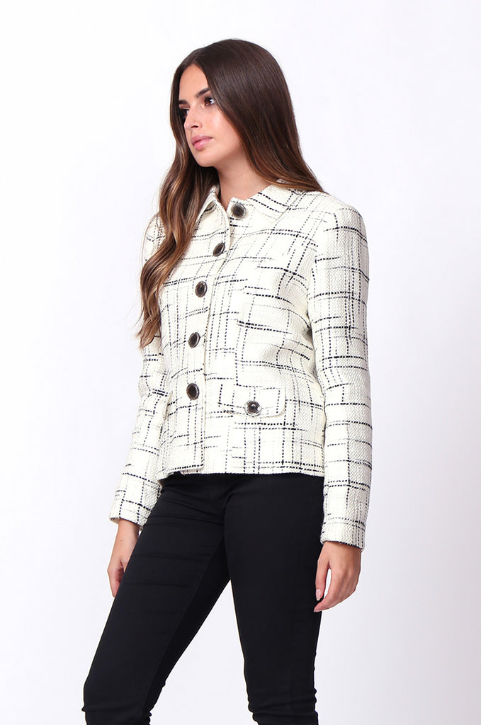 SC0002-CREAM TWEED TARTAN BLAZER JACKET view 2