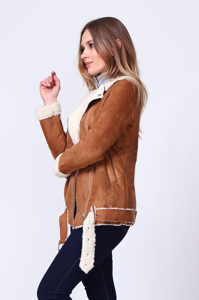 SD0194-TAN SUEDE LONG LINE SHERLING AVIATOR JACKET view 2