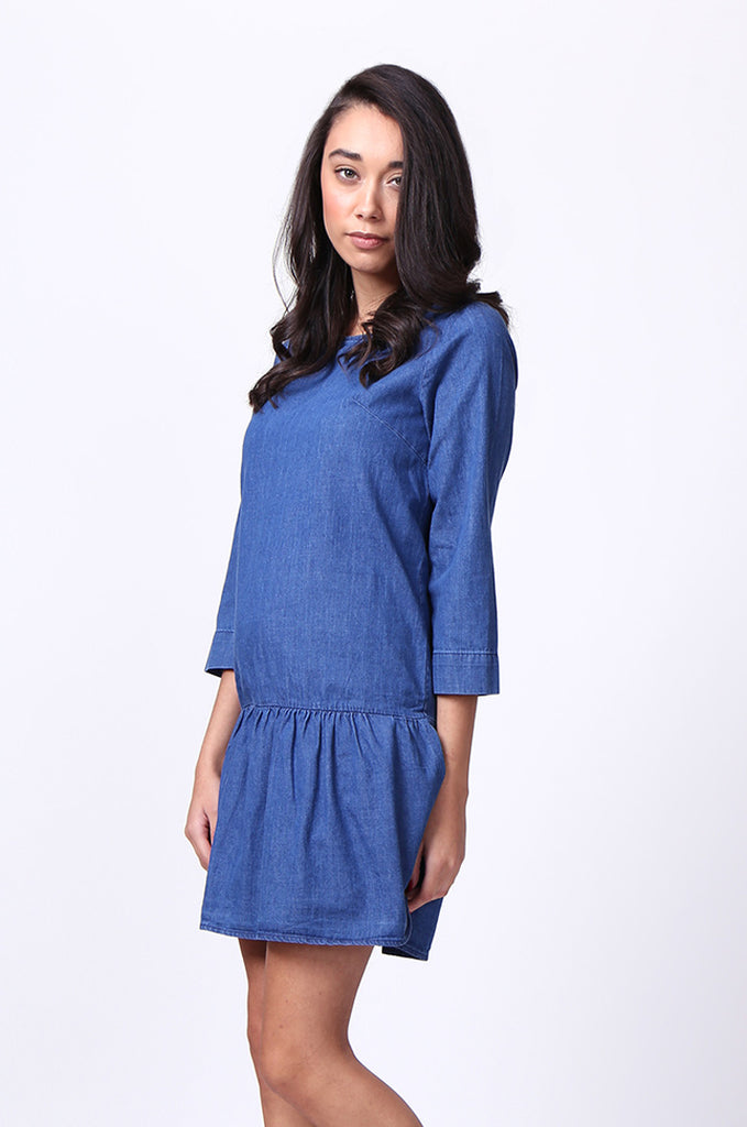 SF0030-DARK BLUE DROP WAIST DENIM DRESS view 3