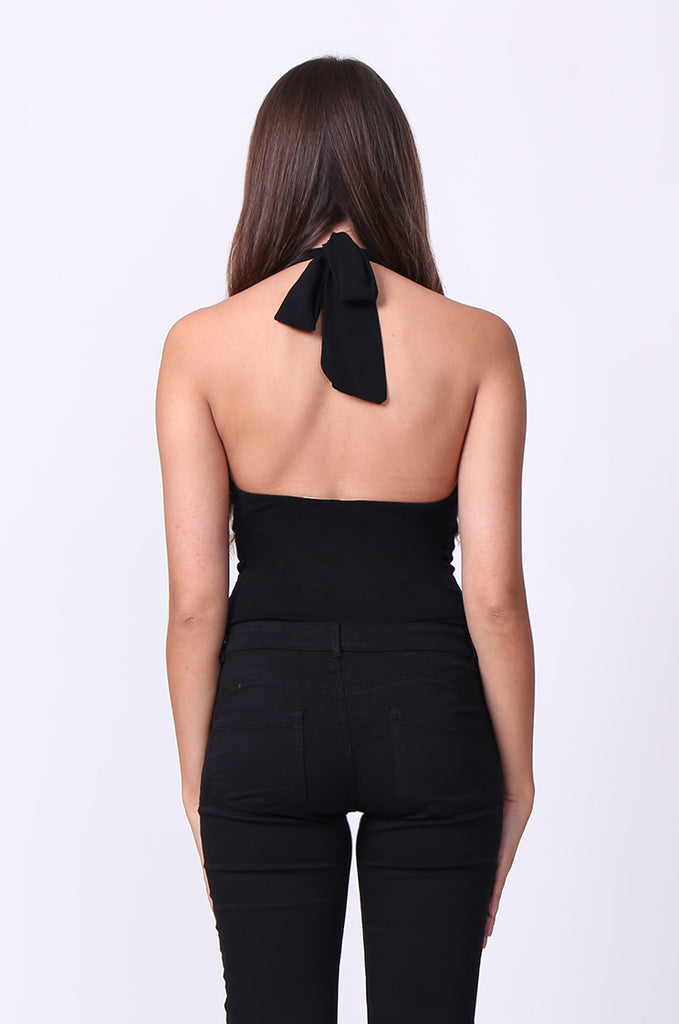 SP0114-BLACK HALTER NECK OPEN BACK BODYSUIT view 2