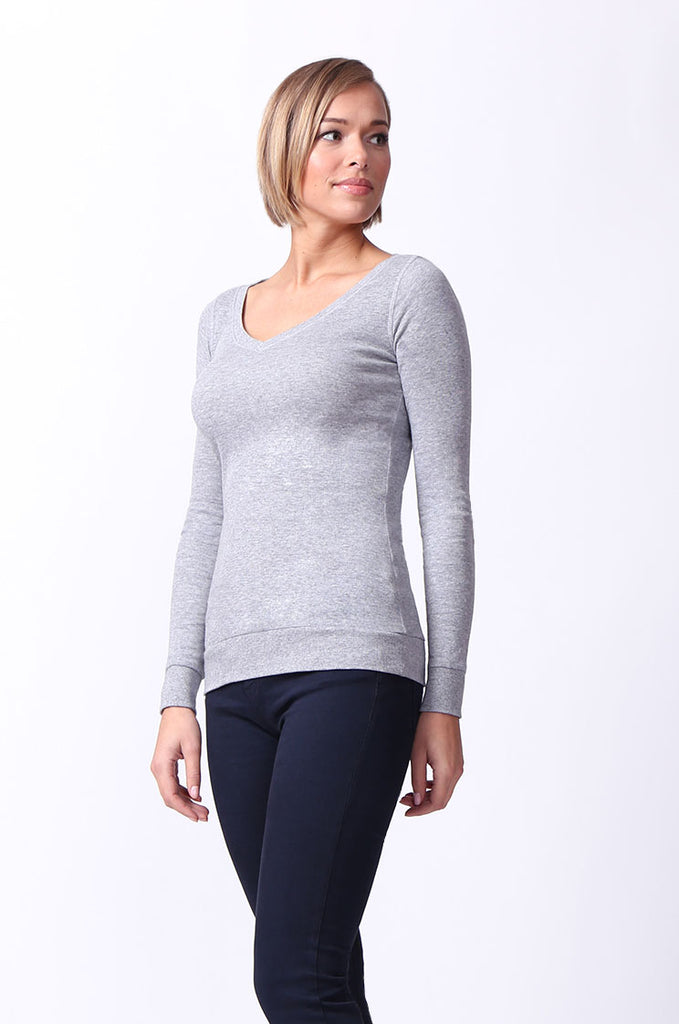 SF0064-GREY BASIC V-NECK LONG SLEEVE TEE view 2