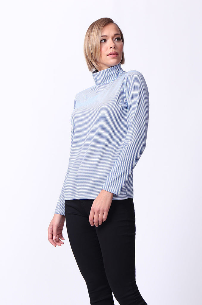 SF0024-BLUE STRIPED LONG SLEEVE BASIC TURTLENECK view 2
