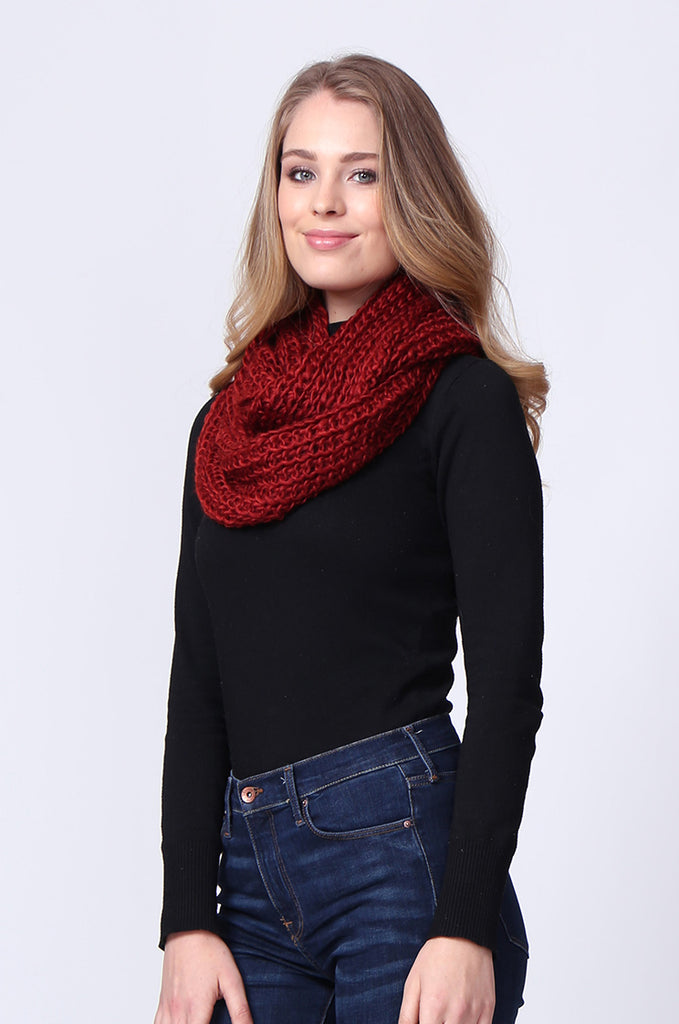 SMC0090-RED CHUNKY KNIT SCARF