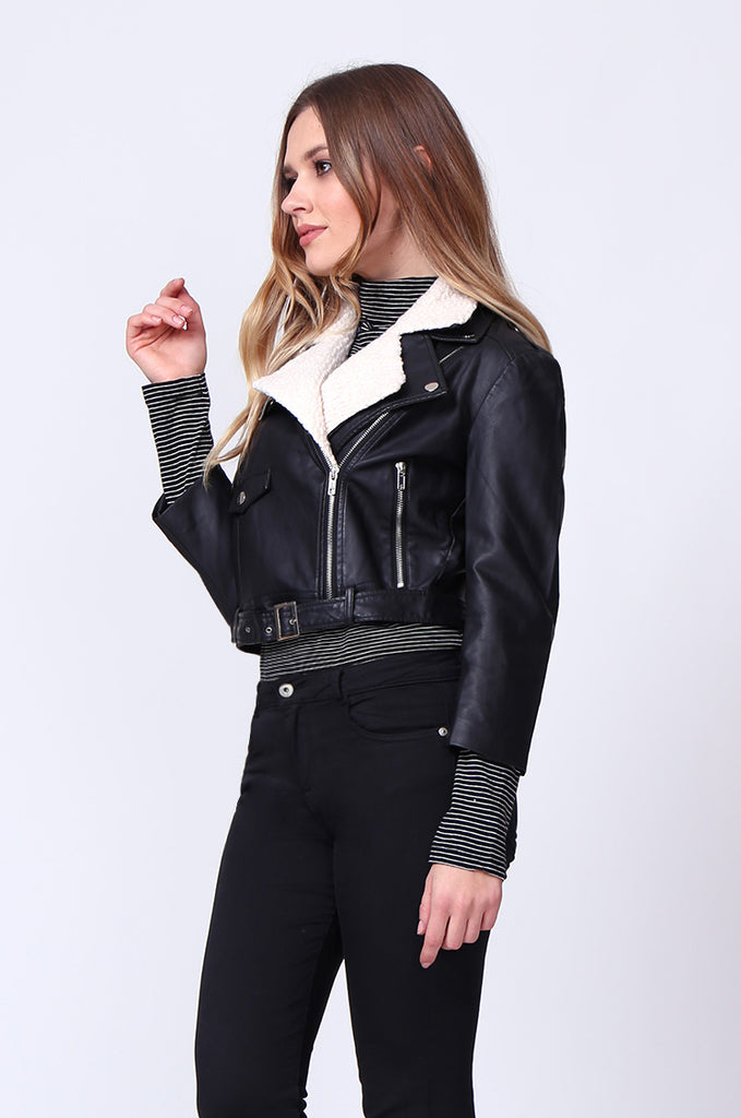 SD0195-BLACK MOTO PU BIKER JACKET view 2