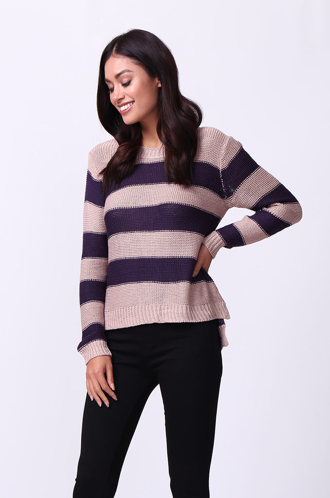 SF0058-PURPLE BLOCK STRIPE CREW NECK JUMPER view 2