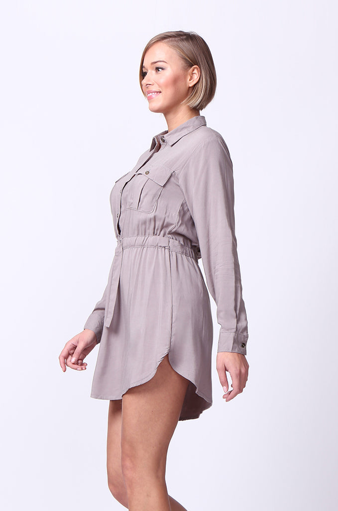 SF0093-GREY LONG SLEEVE BELTED SHIRT DRESS view 2