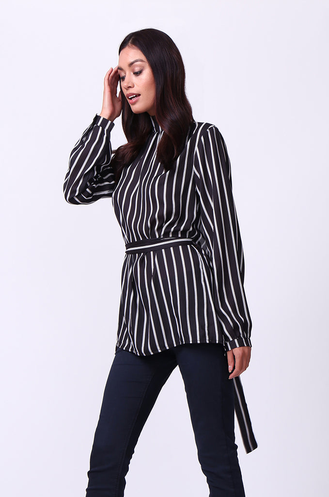 SD0005-MULTI STRIPED MOCK NECK OPEN BACK TOP view 2