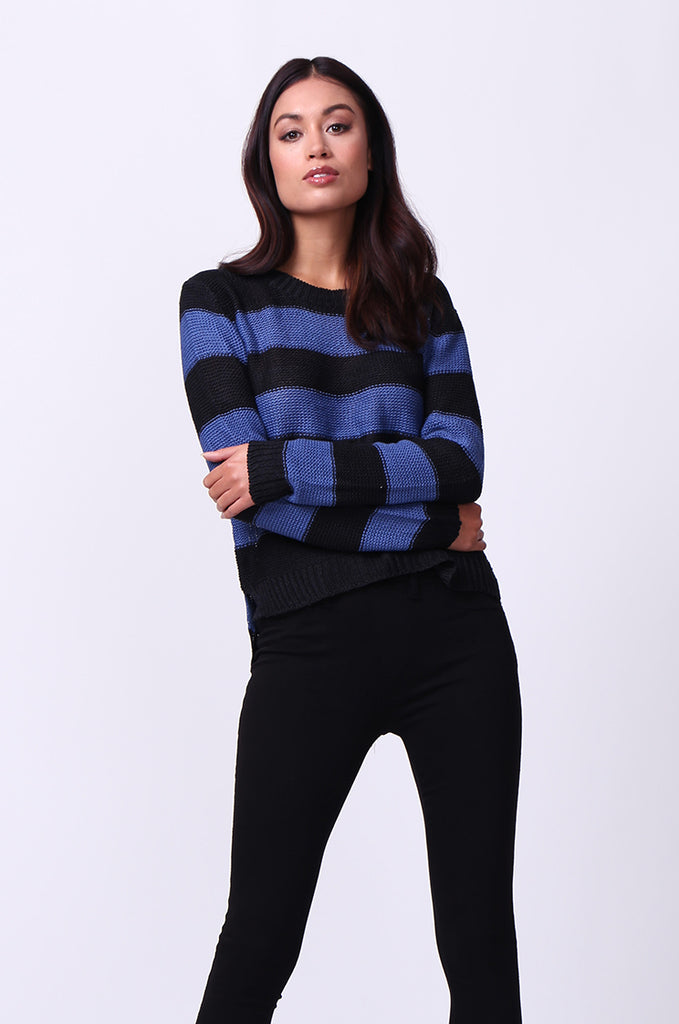 SF0058-BLACK BLOCK STRIPE CREW NECK JUMPER view 2