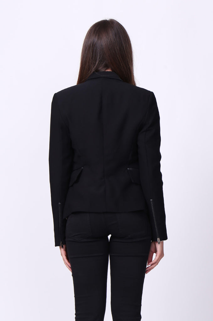 SC0001-BLACK ZIP POCKET BASIC BLAZER JACKET view 3