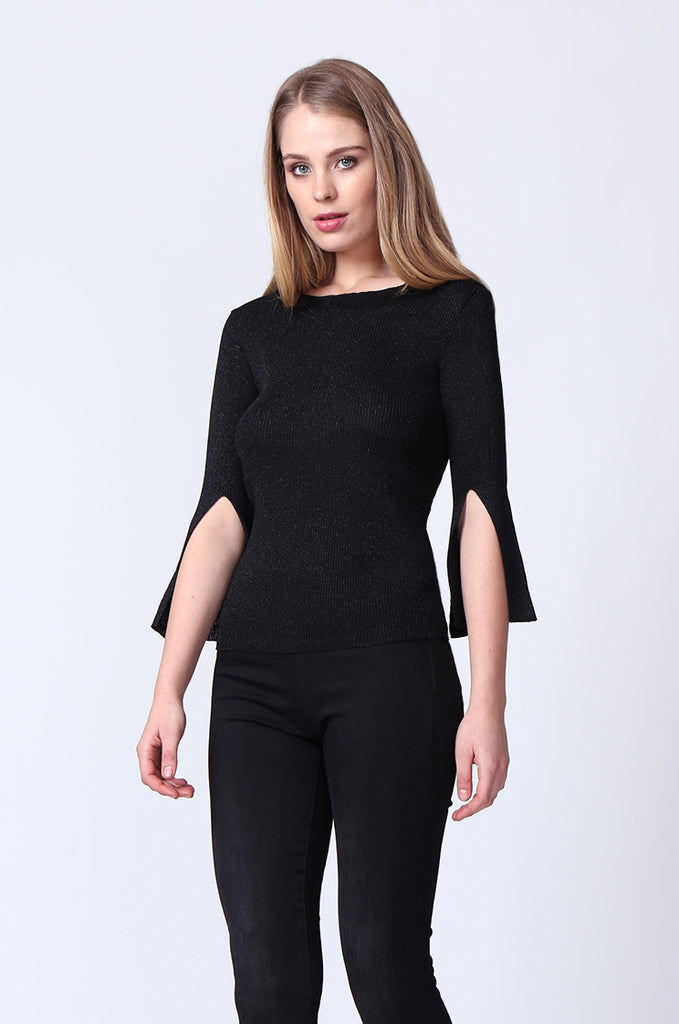 SJ0165-BLACK METALLIC FLARE SLEEVE KNIT TOP view 2