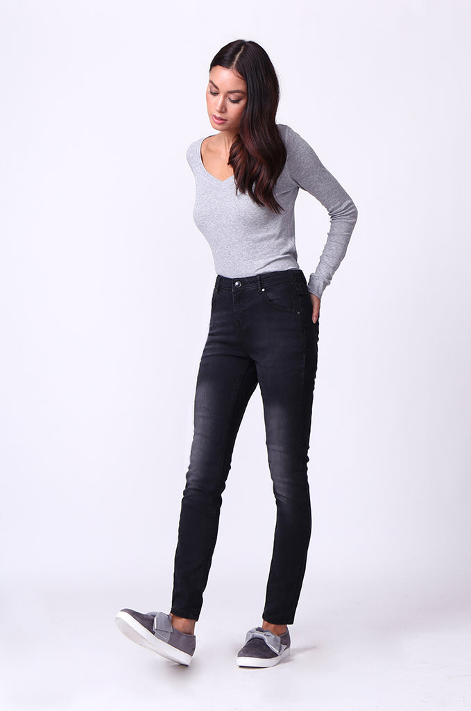 SF0099-BLACK WASHED SKINNY JEANS view 2