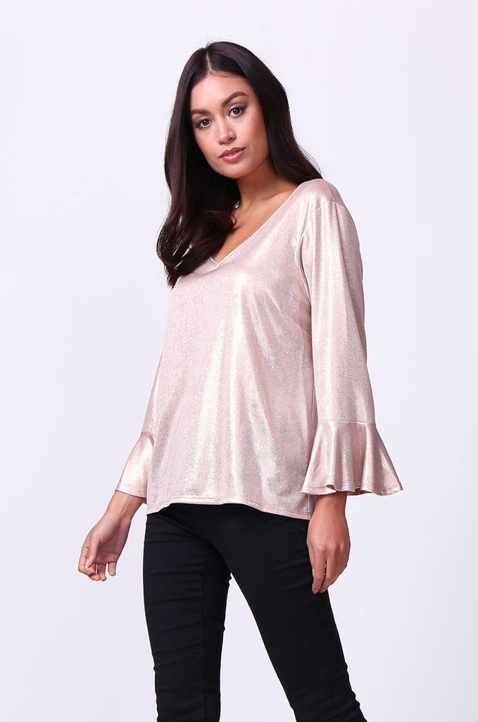 SC0004-PINK METALLIC FLUTED SLEEVE TOP view 2