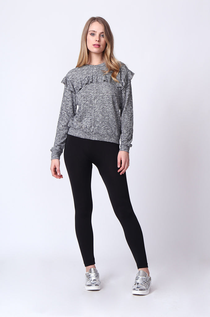 SJ0170-DARK GREY FRILLY SWEATSHIRT view 2