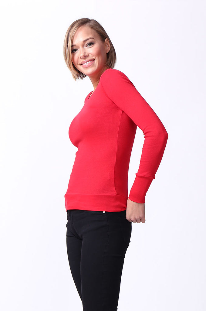 SF0063-RED BASIC SCOOP NECK LONG SLEEVE TEE view 2