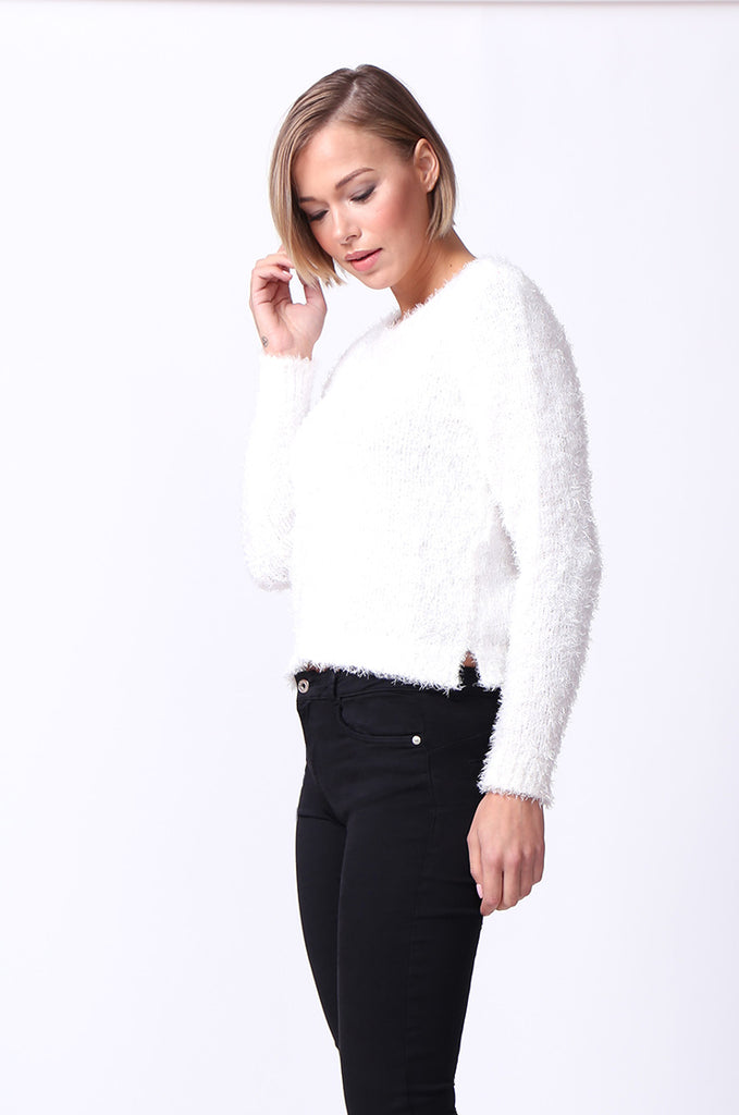 SF0060-CREAM FLUFFY LONG SLEEVE CREW NECK JUMPER view 2