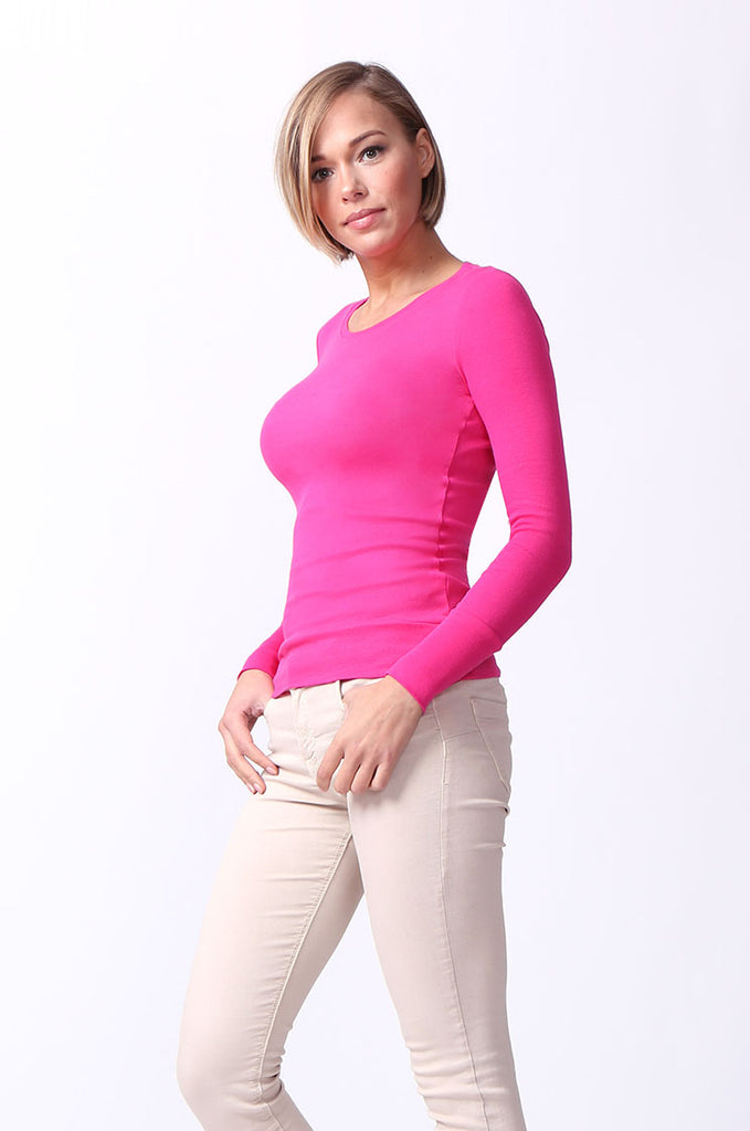 SF0063-PINK BASIC SCOOP NECK LONG SLEEVE TEE view 2