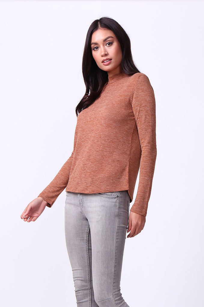 SA0053-TAN LONG SLEEVE ZIP MOCK NECK TOP view 2