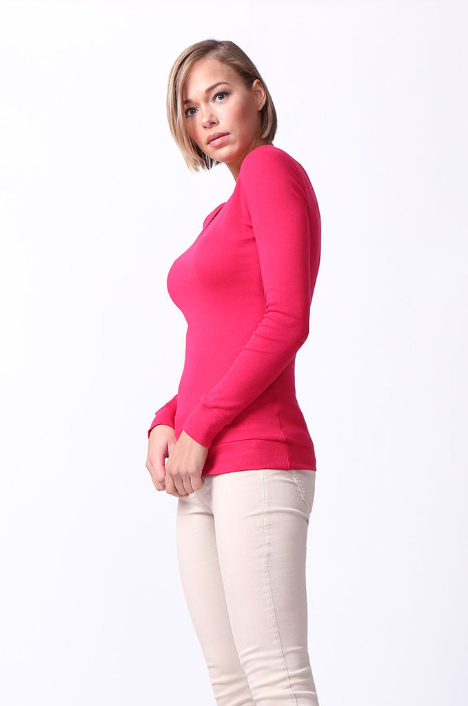 SF0064-PINK BASIC V-NECK LONG SLEEVE TEE view 2