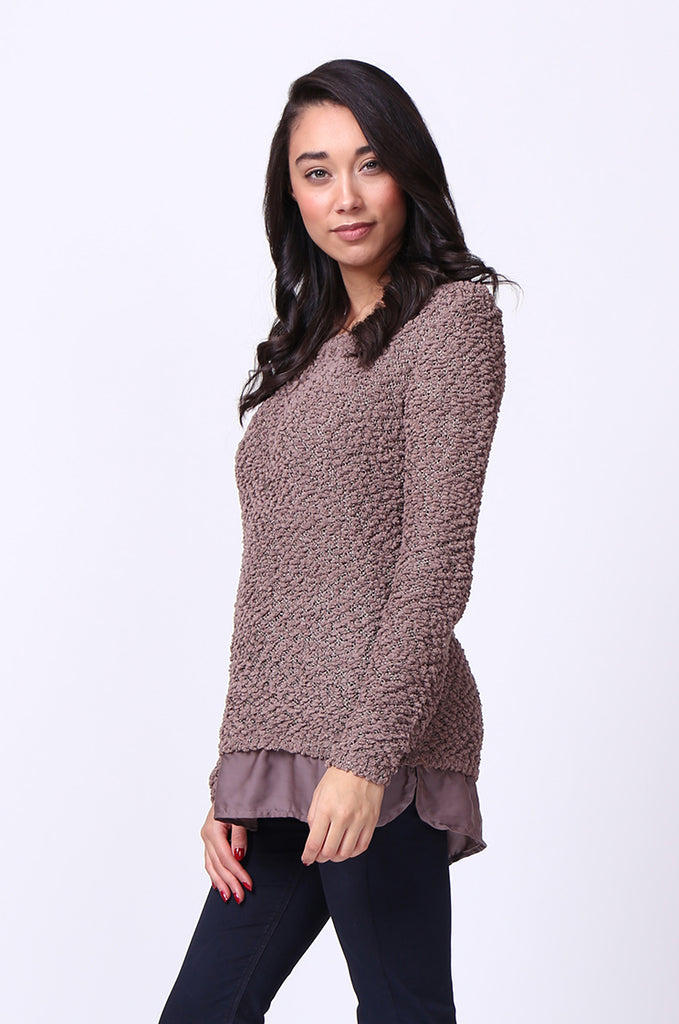 SF0022-BROWN BOUCLE CREWNECK LONG SLEEVE JUMPER view 2