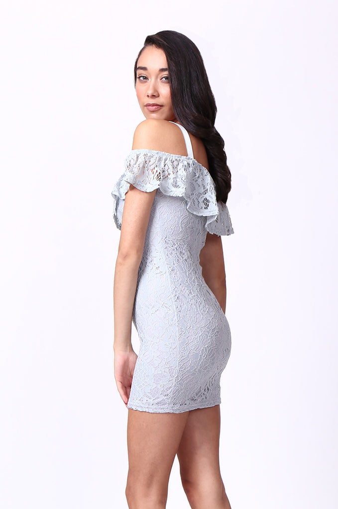 SPF0014-GREY LACE MINI DRESS view 2