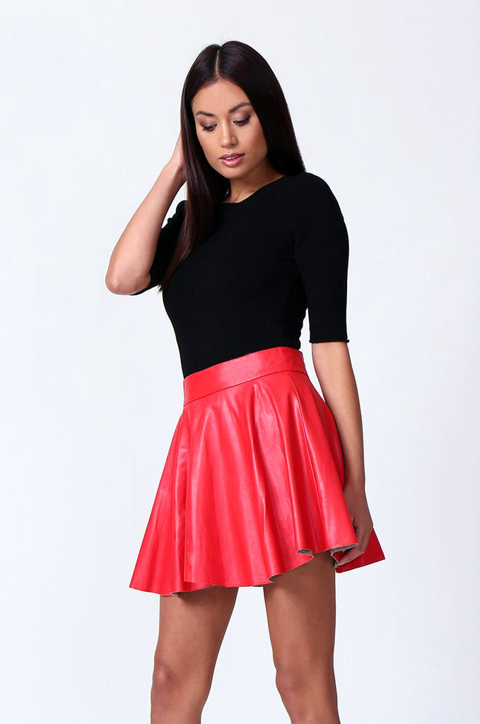 SP0120-RED LEATHERETTE SKATER SKIRT view 2