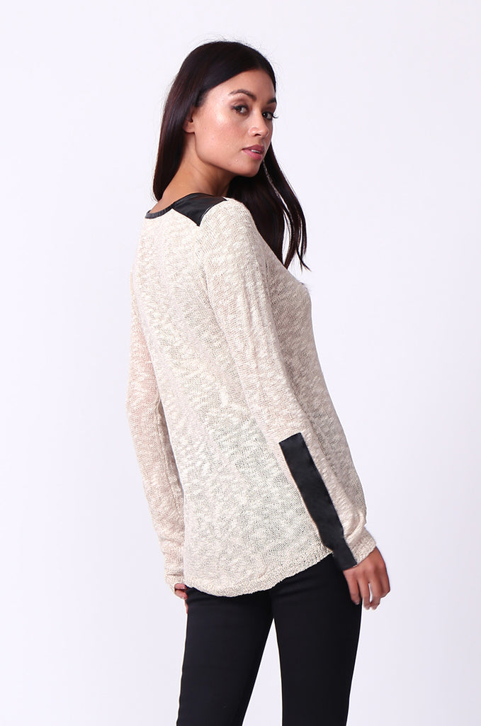 SP0134-CREAM LEATHERETTE TRIM LONG SLEEVE JUMPER view 2