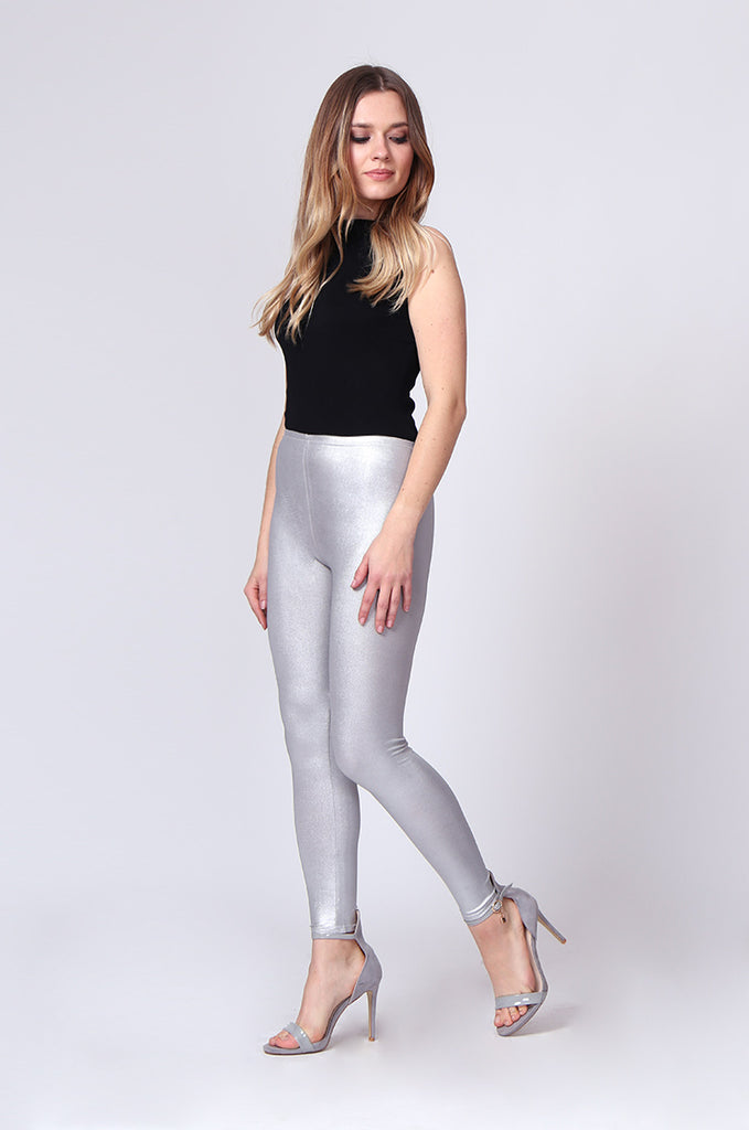 SMT0190-SILVER WET LOOK LEGGING view 2