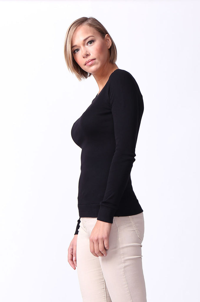 SF0064-BLACK BASIC V-NECK LONG SLEEVE TEE view 2