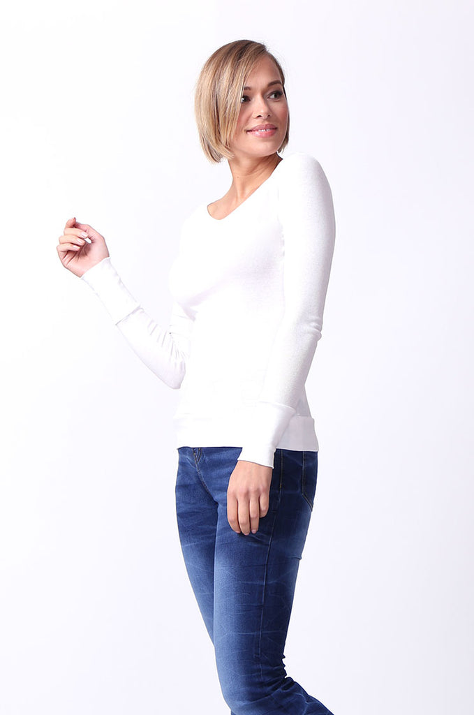 SF0063-WHITE BASIC SCOOP NECK LONG SLEEVE TEE view 2