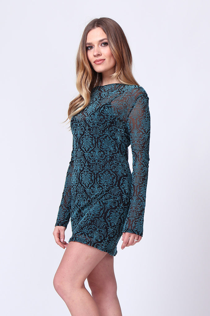 SD0197-TURQUOISE BROCADE VELVET BURN OUT MINI DRESS view 2
