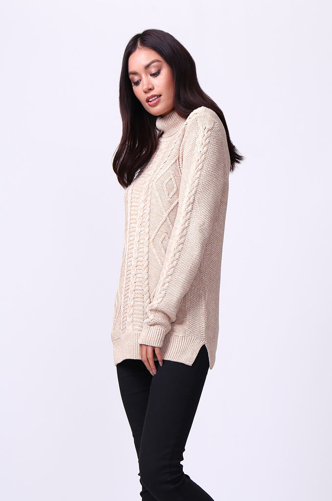 SF0100-BEIGE LONG SLEEVE CABLE KNIT TURTLENECK JUMPER view 2