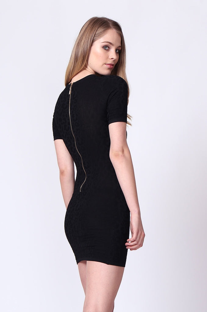 SJ0171-BLACK JACQUARD ZIP BACK KNIT MINI DRESS view 2