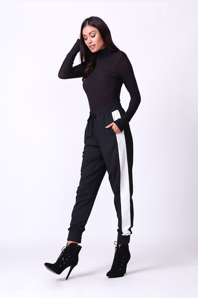 SP0135-BLACK SIDE STRIPE PANT view 2